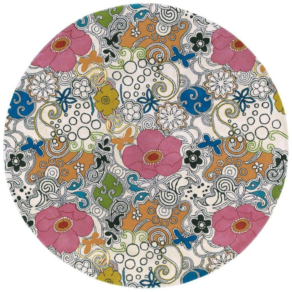 Talence White New Zealand Wool 7 Feet Round Area Rug Talence-79RD Canada Discount