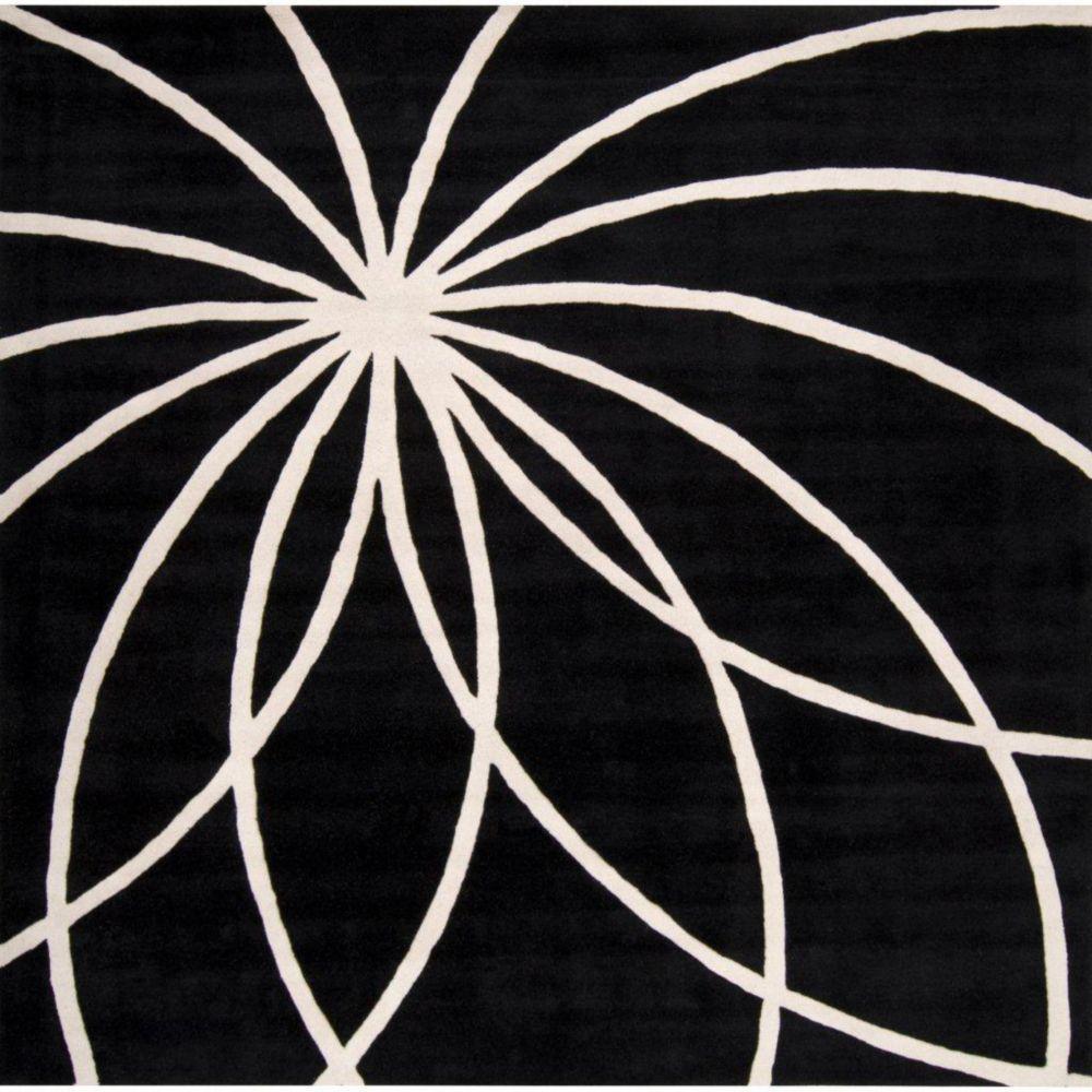 Tapis Rambouillet noir en laine  - 8 pieds, carré