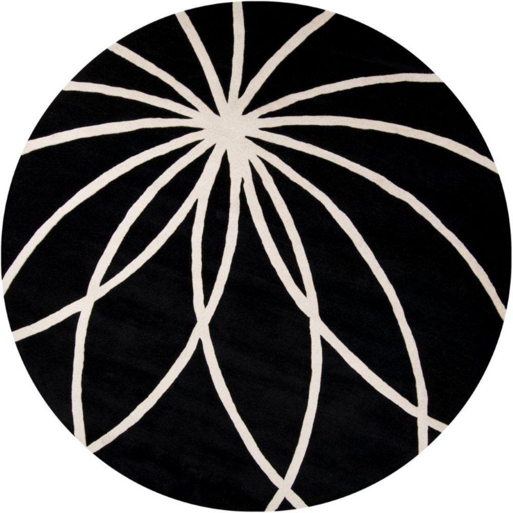 Tapis Rambouillet noir en laine  - 9 pieds 9 pouces, rond