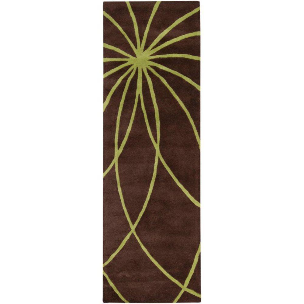 Randan Chocolate Wool 3 Feet x 12 Feet Area Rug