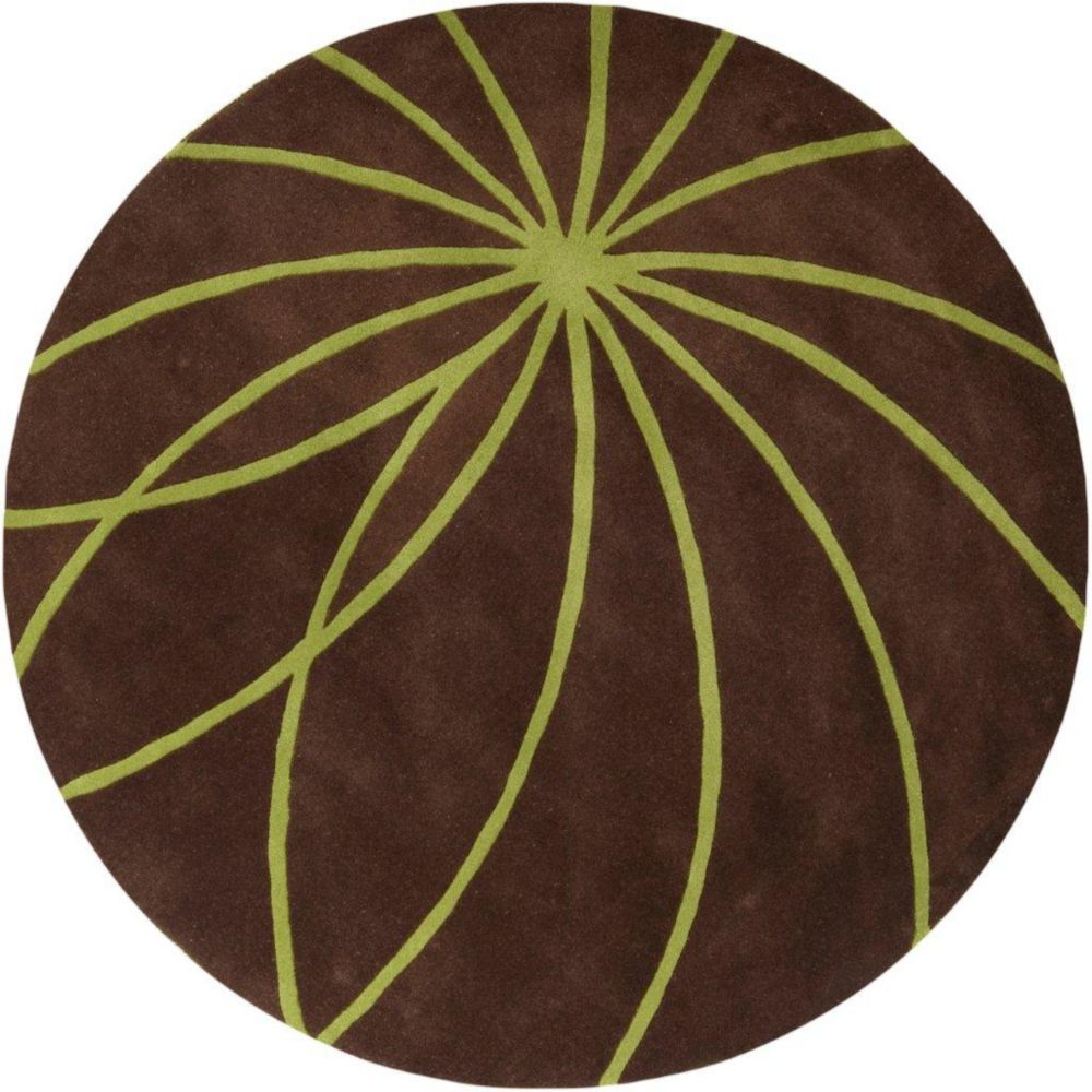 Tapis Randan chocolat en laine 4 Pi. rond