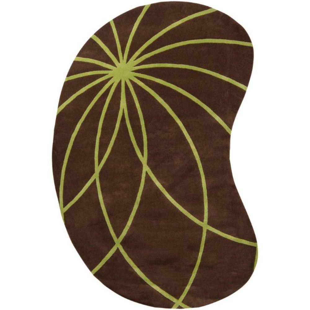 Randan Chocolate Wool 8 Ft. x 10 Ft. Area Rug Kidney