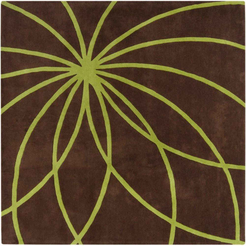 Randan Chocolate Wool 8 Feet Square Area Rug
