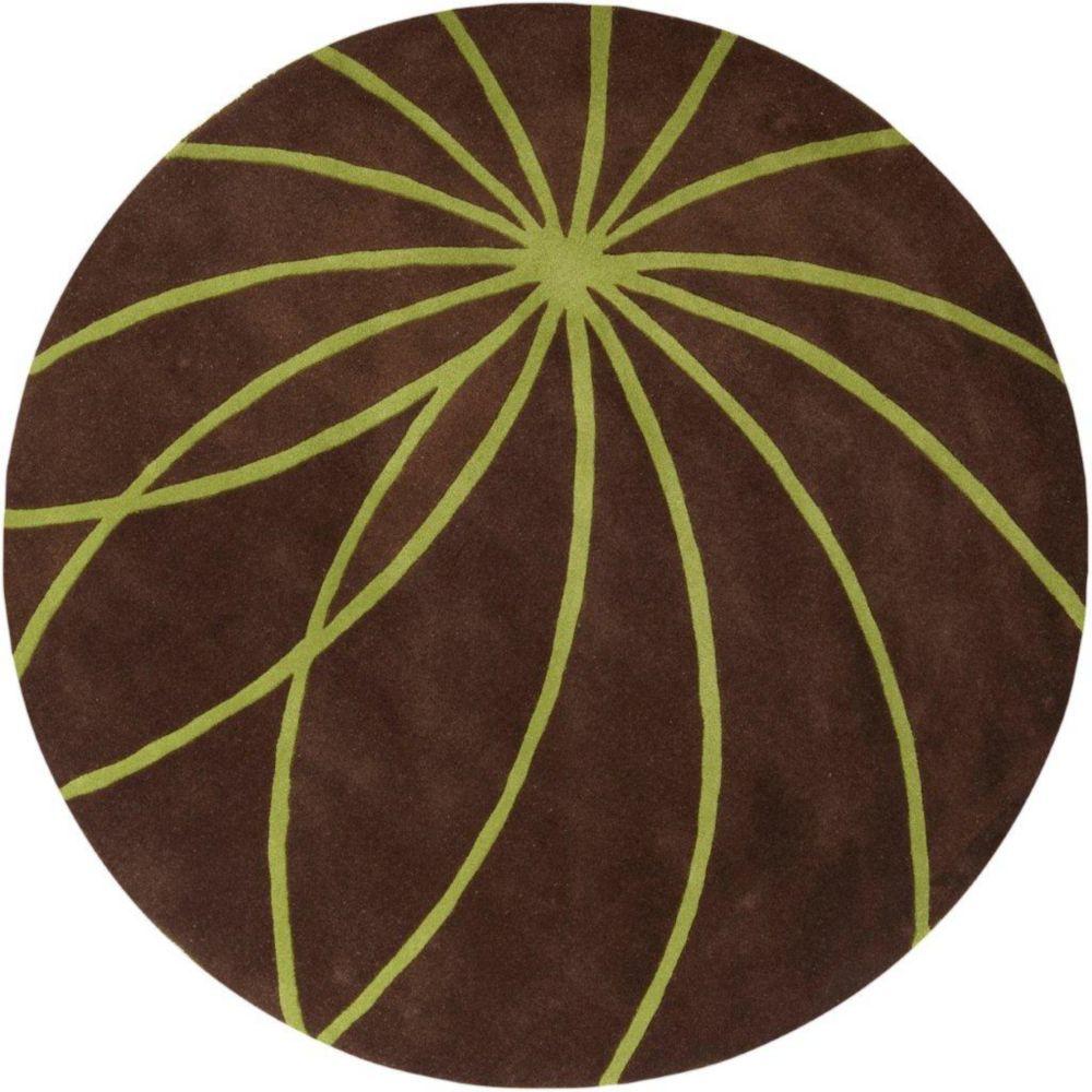 Tapis Randan chocolat en laine 9 Pi. 9 Pi. rond