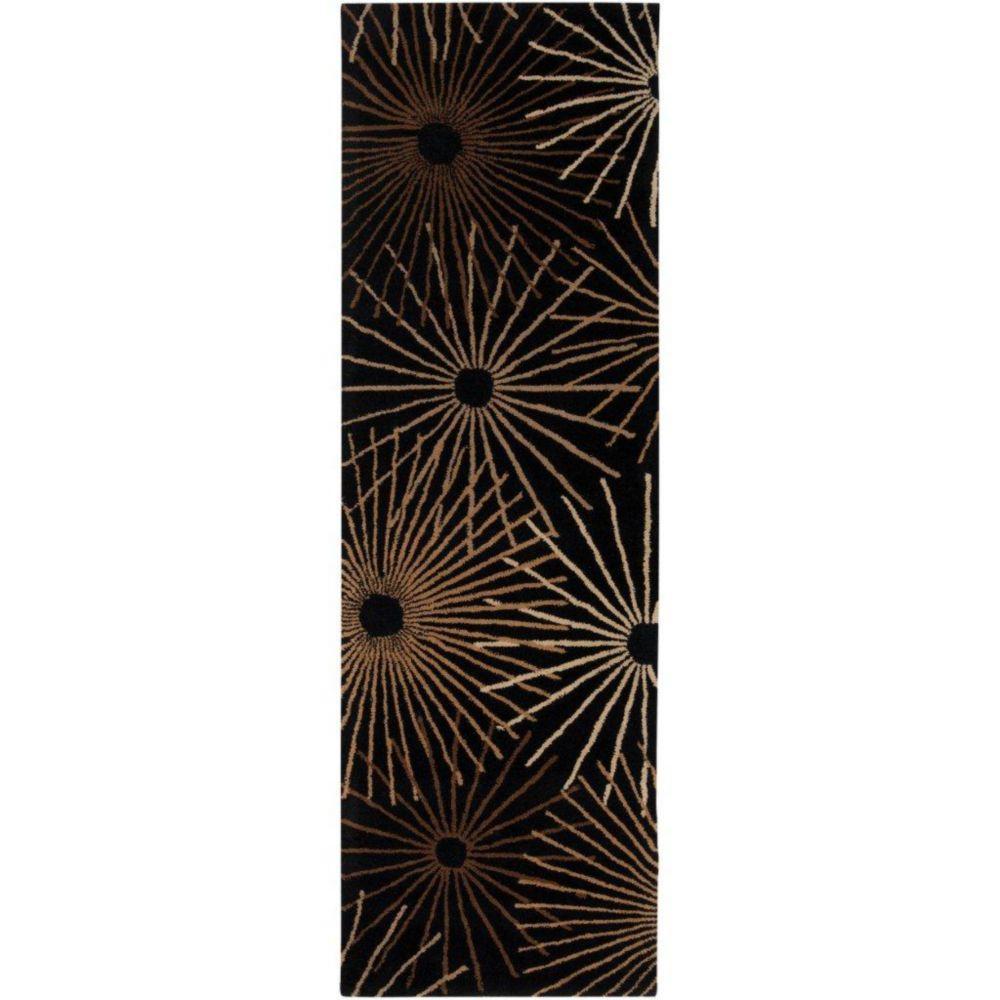 Rannee Black Wool Area Rug - 3 Feet x 12 Feet