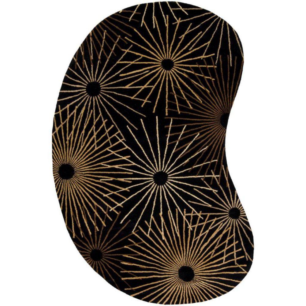 Rannee Black Wool 8 Ft. x 10 Ft. Area Rug Kidney