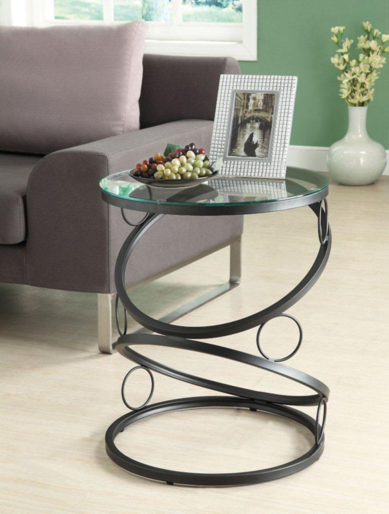 Monarch Specialties Accent Table - Matte Black Metal With Tempered Glass