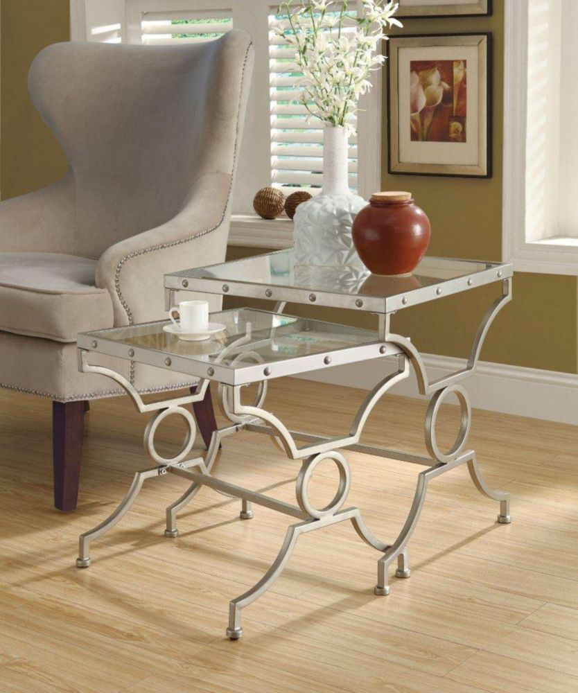 Nesting Table - 2Pcs Set / Silver With Tempered Glass I 3321 Canada Discount