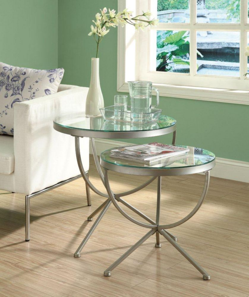 Nesting Table - 2Pcs Set / Silver With Tempered Glass I 3322 in Canada