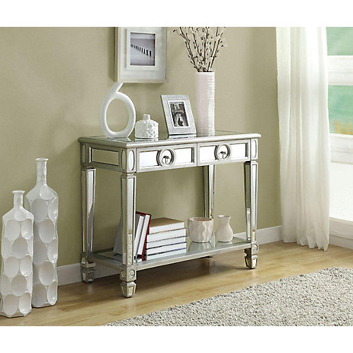 "monarch specialties console table - 38""l / brushed silver / mirror"