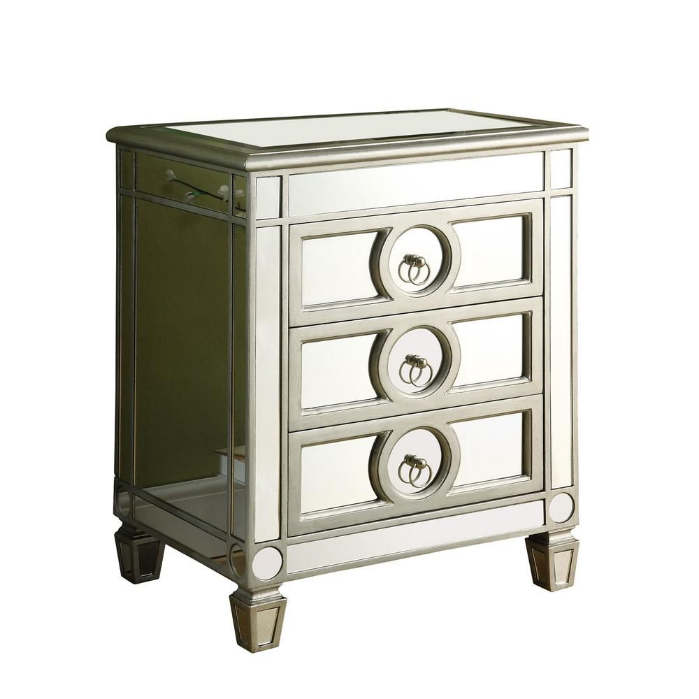 Accent Chest - Brushed Silver With Mirror