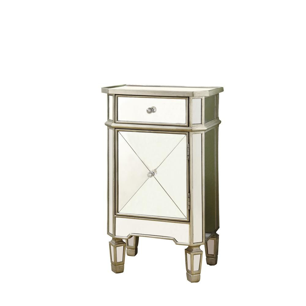 Accent Table - Brushed Silver / Mirror With 3 Drawers