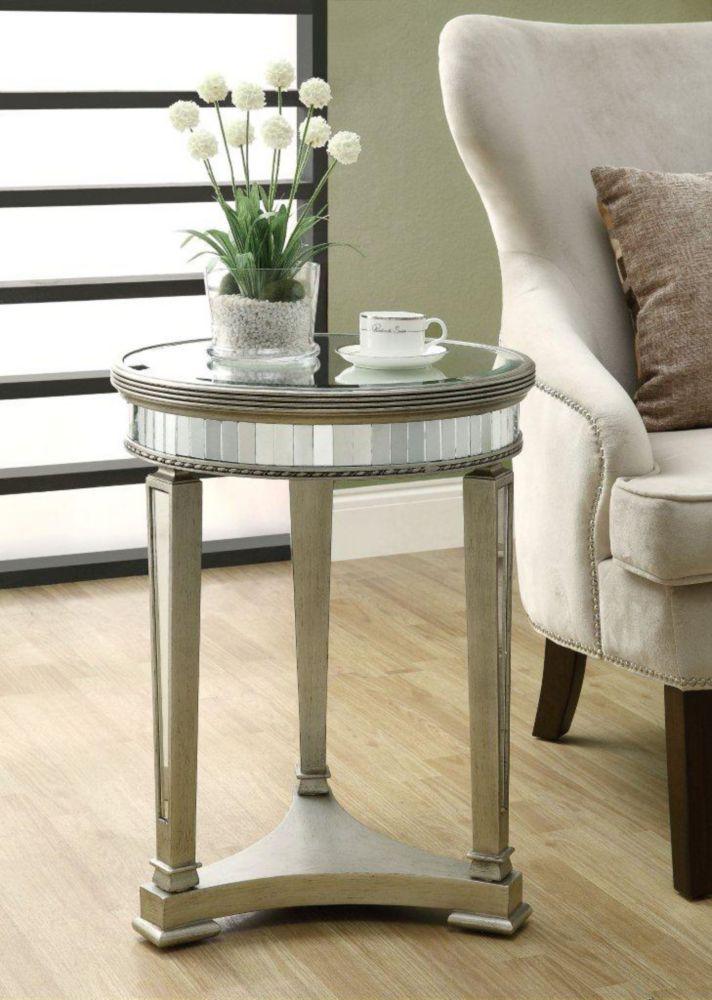 monarch specialties table d 39 appoint 20 dia argent brosse miroir home depot canada. Black Bedroom Furniture Sets. Home Design Ideas