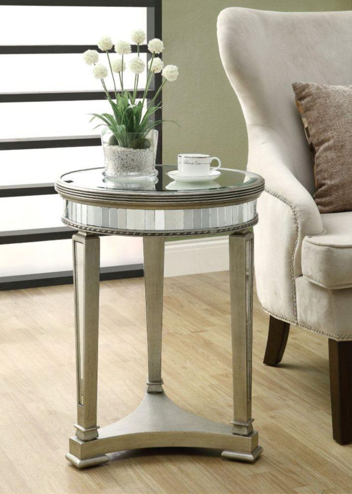"Monarch Specialties Accent Table - 20""Dia / Brushed Silver / Mirror"