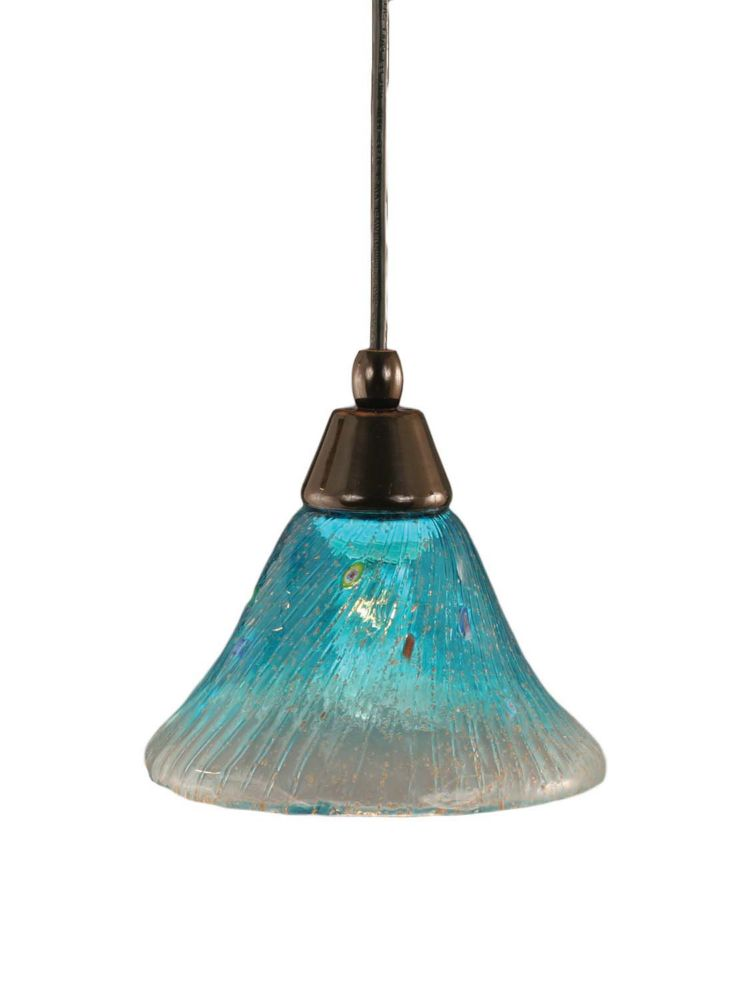 Concord 1-Light Ceiling Black Copper Pendant with a Teal Crystal Glass