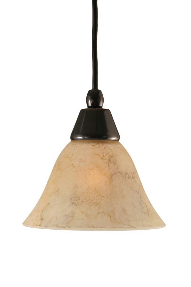 Concord 1 Light Ceiling Black Copper Incandescent Pendant with an Italian Marble Glass