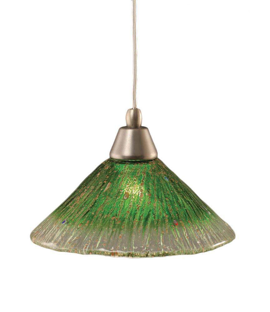 Concord plafond à 1 lumière, nickel brossé Pendeloque à incandescence avec un cristal en verre ve...