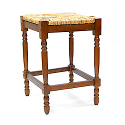 Carolina Cottage Hawthorne Solid Wood Brown Contemporary Backless Armless Bar Stool with Brown Wicker Seat