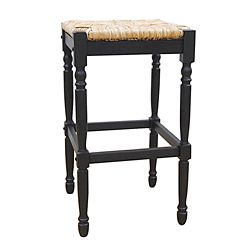 Carolina Cottage Antique Solid Wood Beige Contemporary Backless Armless Bar Stool with Beige Wicker Seat