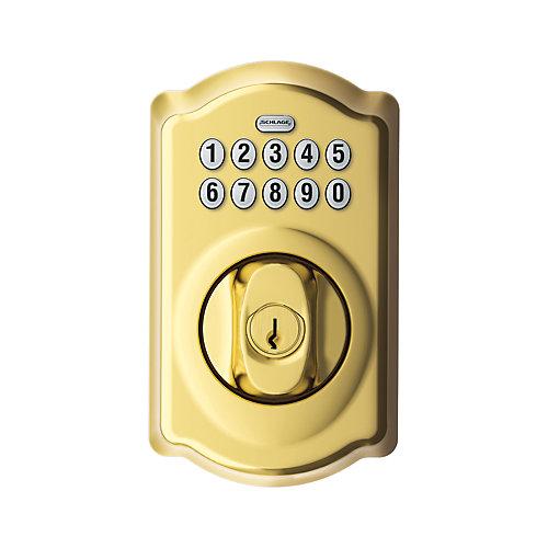 Camelot Bright Brass Keypad Electronic Deadbolt