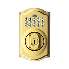 Camelot Bright Brass Keypad Electronic Deadbolt