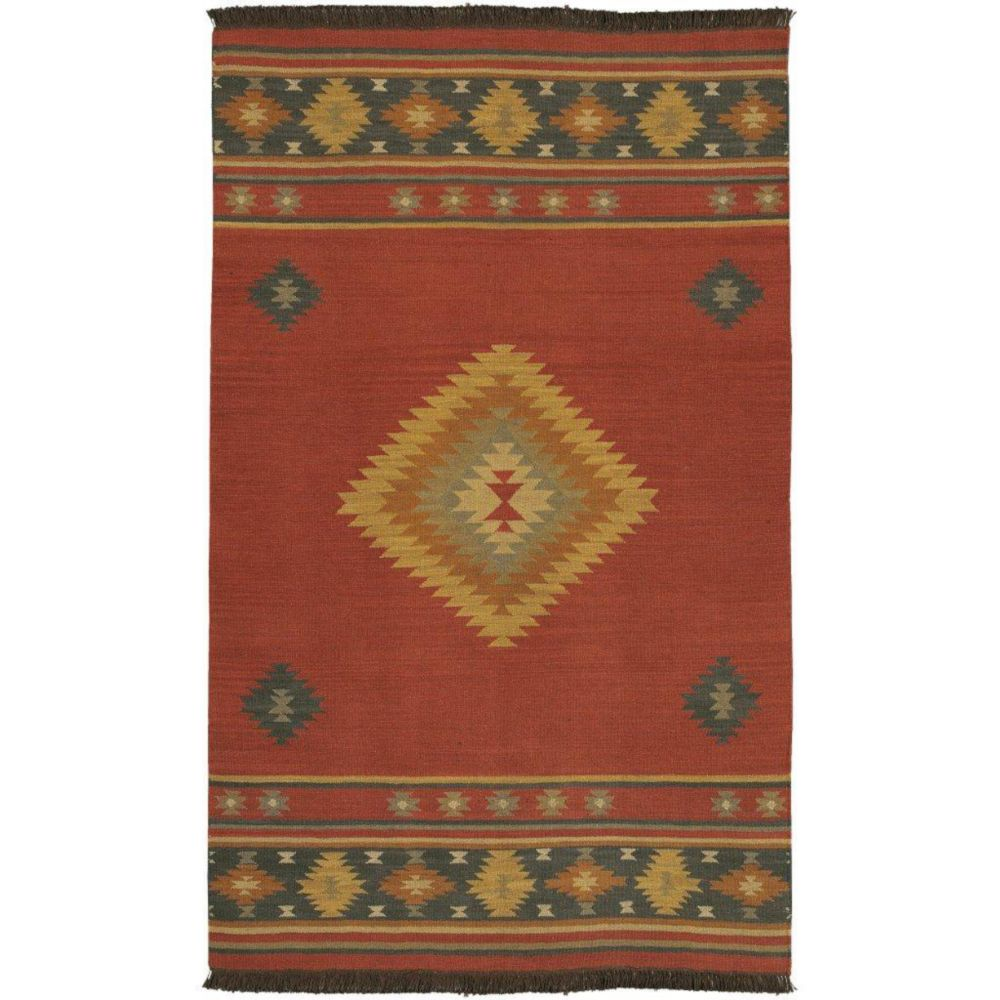 Vagney Red Clay Wool Area Rug - 3 Feet 6 Inches x 5 Feet 6 Inches