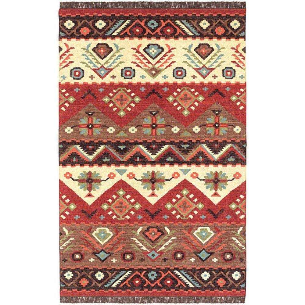 Vaiges Red Wool Accent Rug - 2 Feet x 3 Feet
