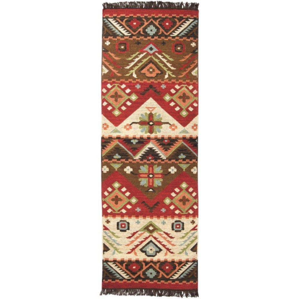Artistic Weavers  Tapis de passage Vaiges  rouge en laine 2 Pi. 6 Po. x 8 Pi.
