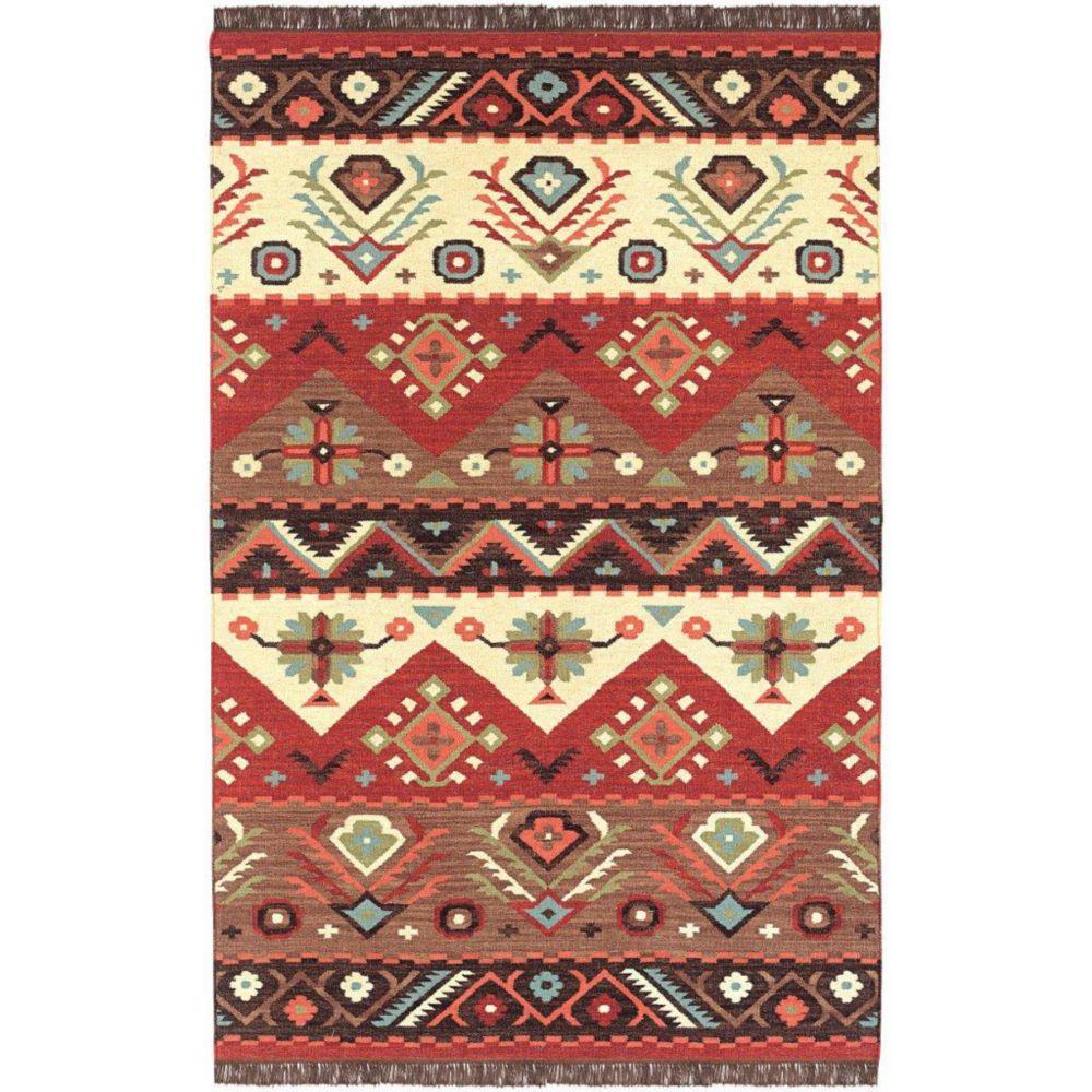 Vaiges Red Wool 3 Feet 6 Inch x 5 Feet 6 Inch Area Rug