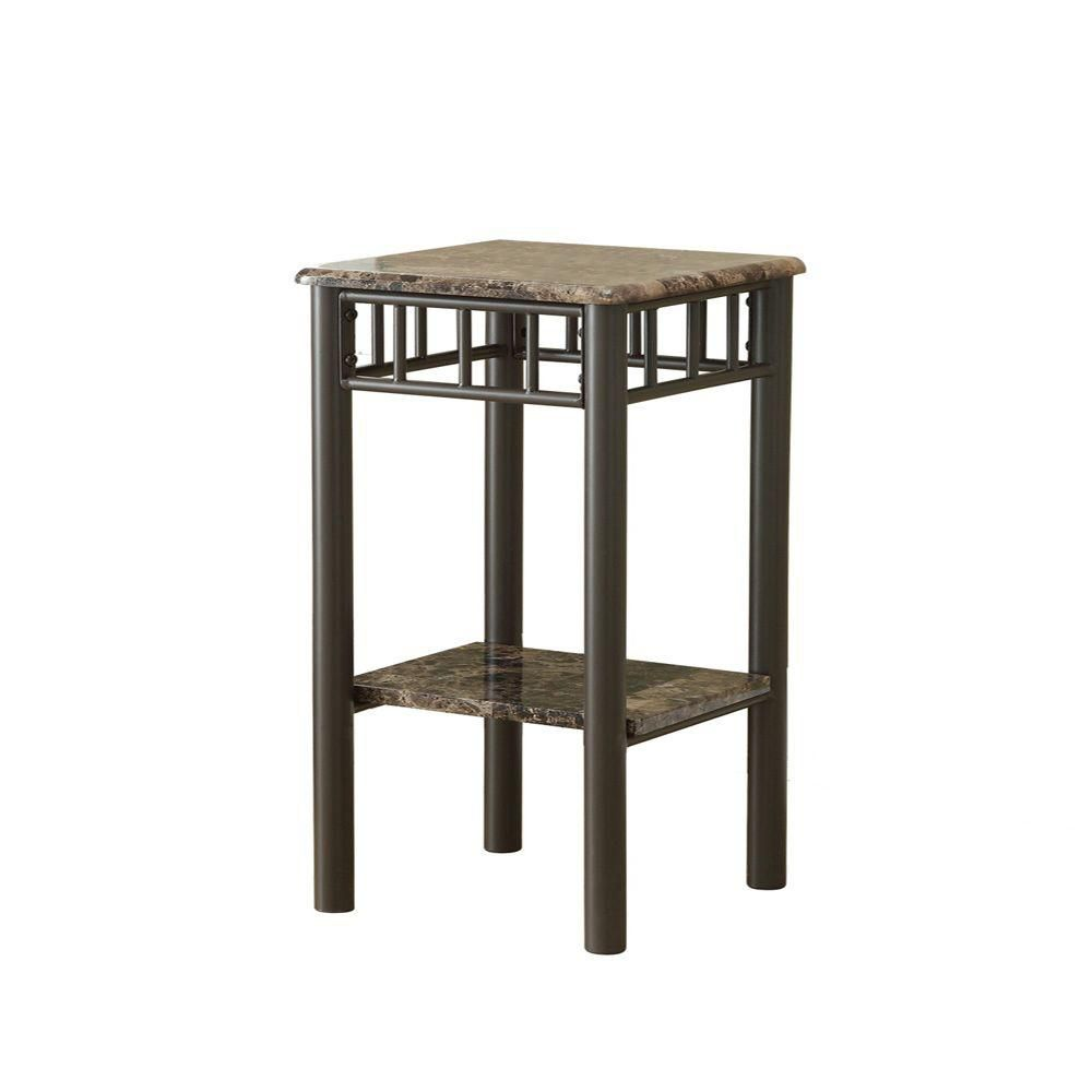 monarch specialties table d 39 appoint marbre cappuccino metal bronze home depot canada. Black Bedroom Furniture Sets. Home Design Ideas