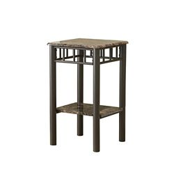 Monarch Specialties Accent Table - Cappuccino Marble / Bronze Metal