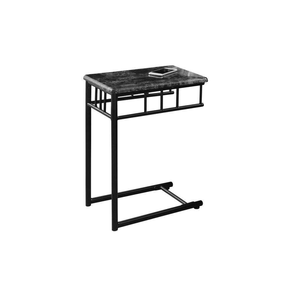Table D'Appoint - Marbre Gris / Metal Gris Fonce