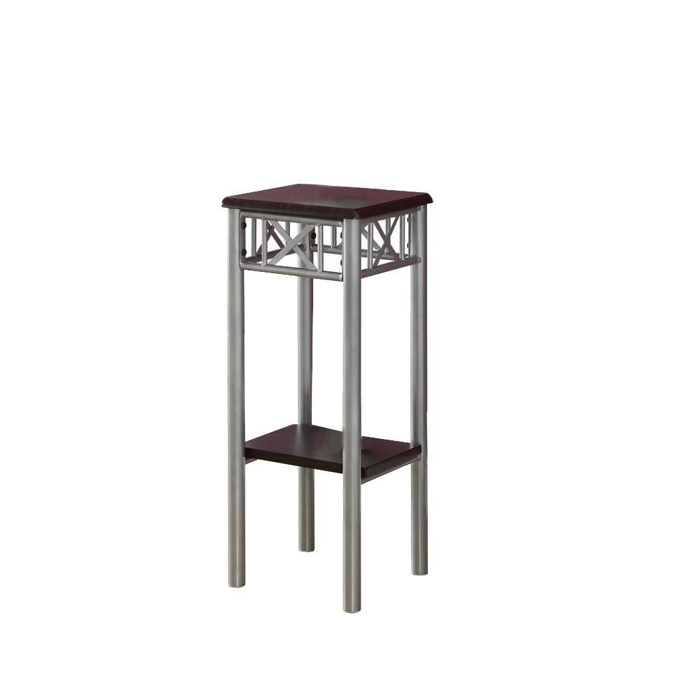 Monarch Specialties Accent Table - Cappuccino / Silver Metal