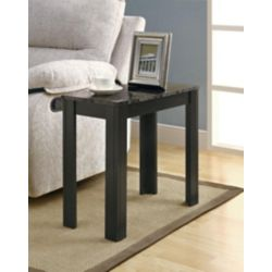 Monarch Specialties Grey Marble Top Accent Table In Black The Home