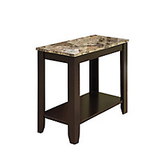 24-inch x 12-inch x 22-inch Accent Table in Cappuccino with Marble Top