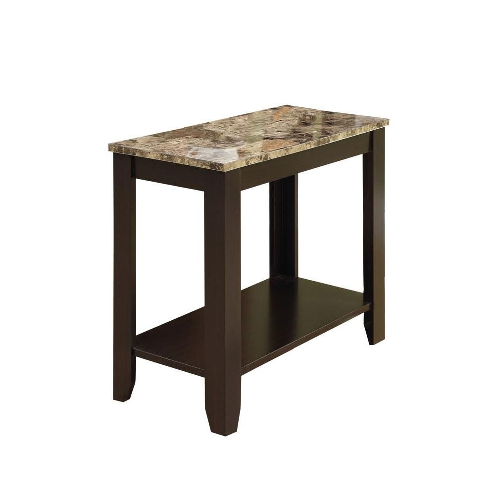 Monarch Specialties 24-inch x 12-inch x 22-inch Accent Table in Cappuccino with Marble Top