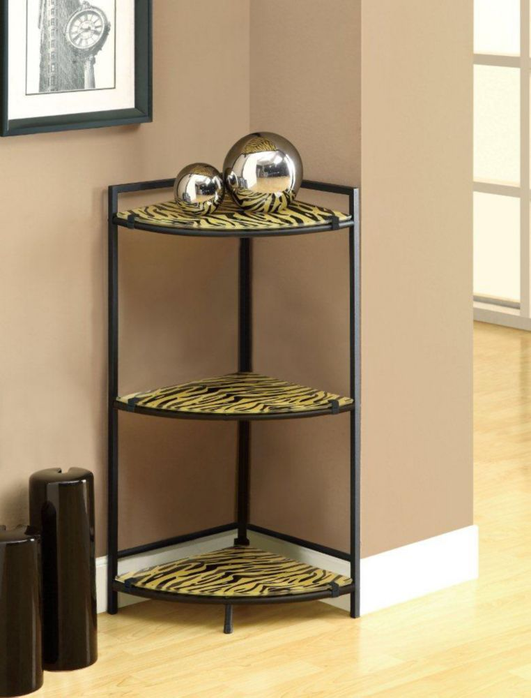 "Accent Table - 30""H / Black Metal W/ Tiger Tempered Glass"