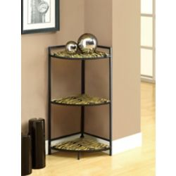 """Monarch Specialties Accent Table - 30""""H / Black Metal W/ Tiger Tempered Glass"""