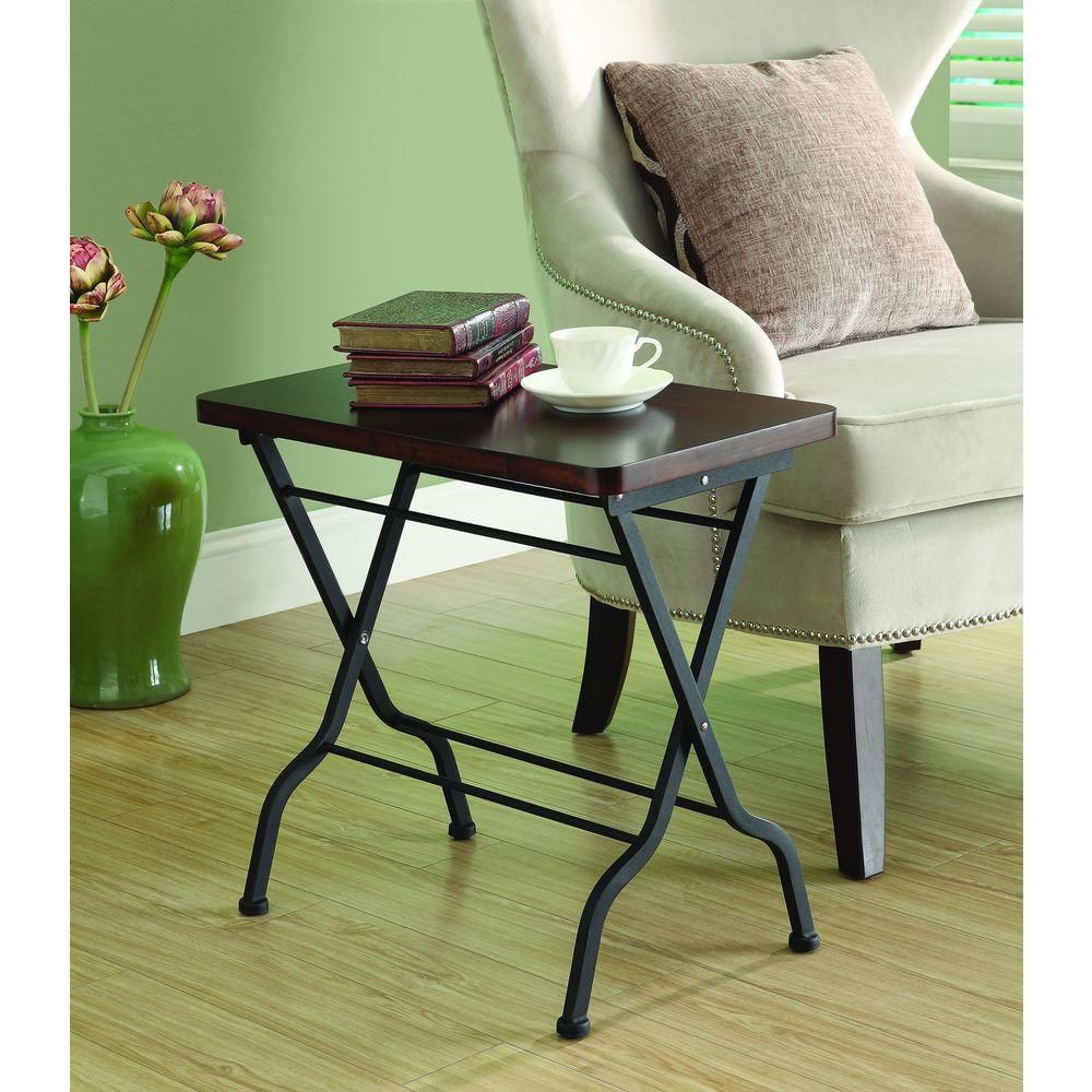 Accent Table - Cherry / Charcoal Black Metal Folding I 3309 in Canada