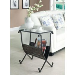 Monarch Specialties Accent Table - Black / Taupe Mix Metal W/ Tempered Glass