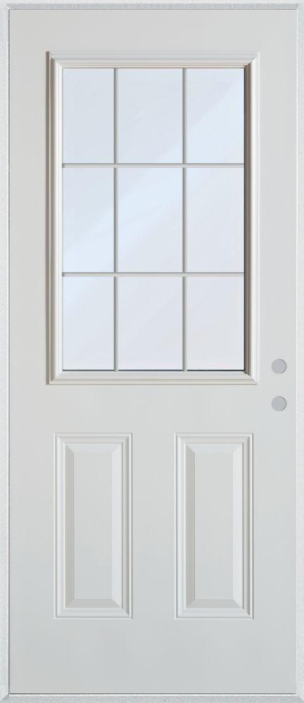 9-Lite 2-Panel Painted Cladded Steel Entry Door