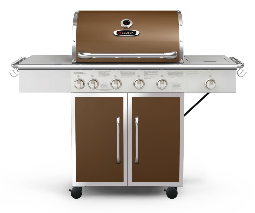 Bbqtek 6 burner lp gas bbq with rotisserie searing and side burner the home depot canada - Home depot bbq propane ...