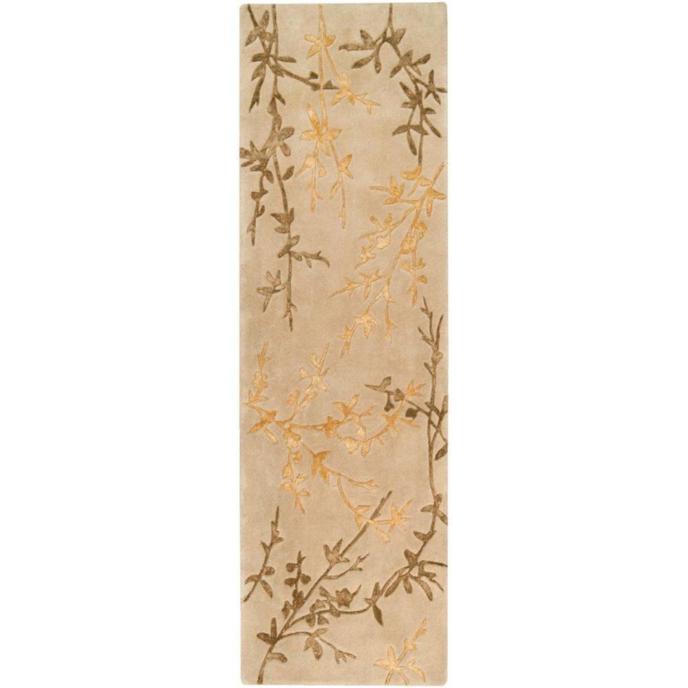 Vancouver Tan Wool / Viscose Runner - 2 Ft. 6 In. x 8 Ft. Area Rug