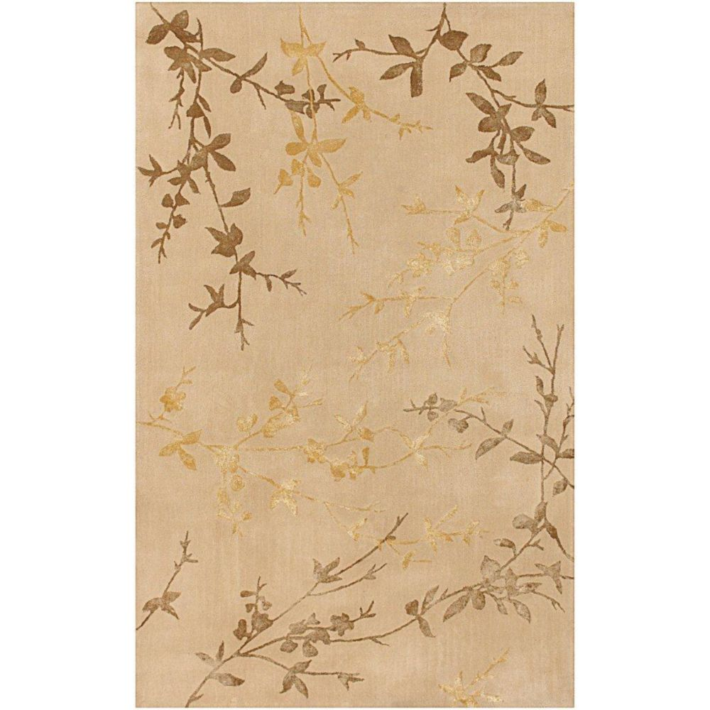 Vancouver Tan Wool / Viscose  - 3 Ft. 6 In. x 5 Ft. 6 In. Area Rug
