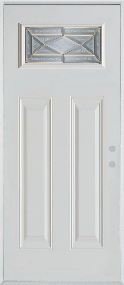 36-inch x 80-inch Queen Anne Rectangular Lite 2-Panel Painted Steel Entry Door