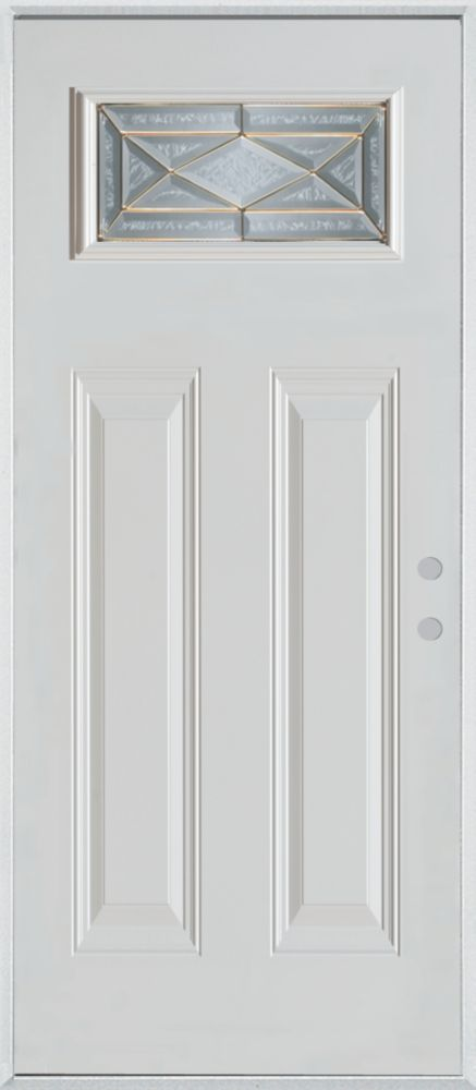 Stanley Doors 37.375 inch x 82.375 inch Queen Anne Brass Rectangular Lite 2-Panel Prefinished White Left-Hand Inswing Steel Prehung Front Door - ENERGY STAR®