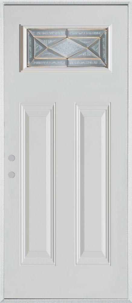 Porte dentrée en acier peint, munie de deux panneaux et dun verre rectangulaire
