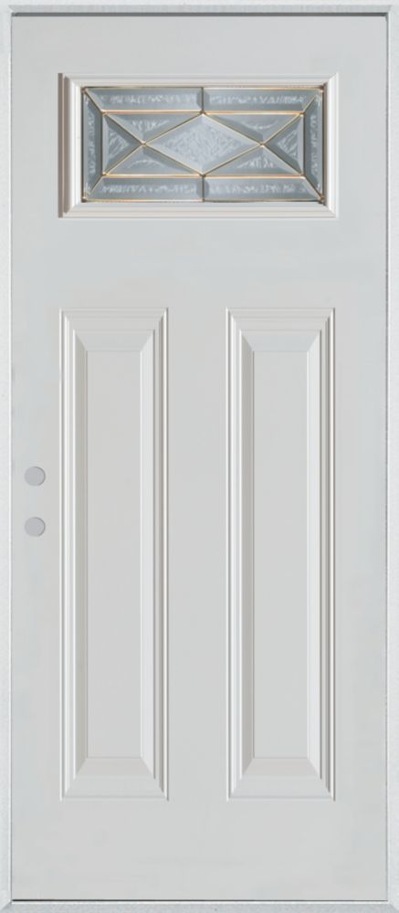 Stanley Doors 37.375 inch x 82.375 inch Queen Anne Brass Rectangular Lite 2-Panel Prefinished White Right-Hand Inswing Steel Prehung Front Door - ENERGY STAR®