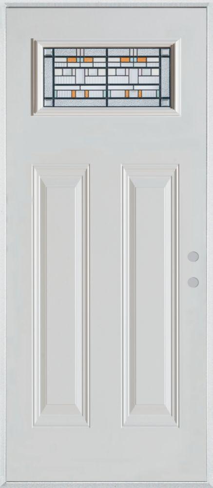 36-inch x 80-inch Chicago Rectangular Lite 2-Panel Painted Steel Entry Door