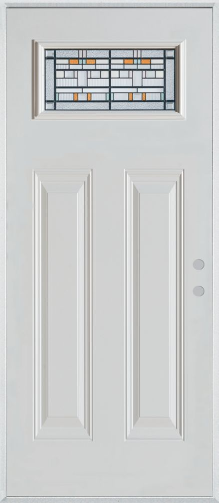 Stanley Doors 37.375 inch x 82.375 inch Chicago Patina Rectangular Lite 2-Panel Prefinished White Left-Hand Inswing Steel Prehung Front Door - ENERGY STAR®